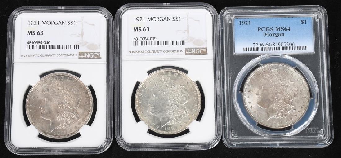 3- 1921 US MORGAN SILVER DOLLARS PCGS NGC MS 64