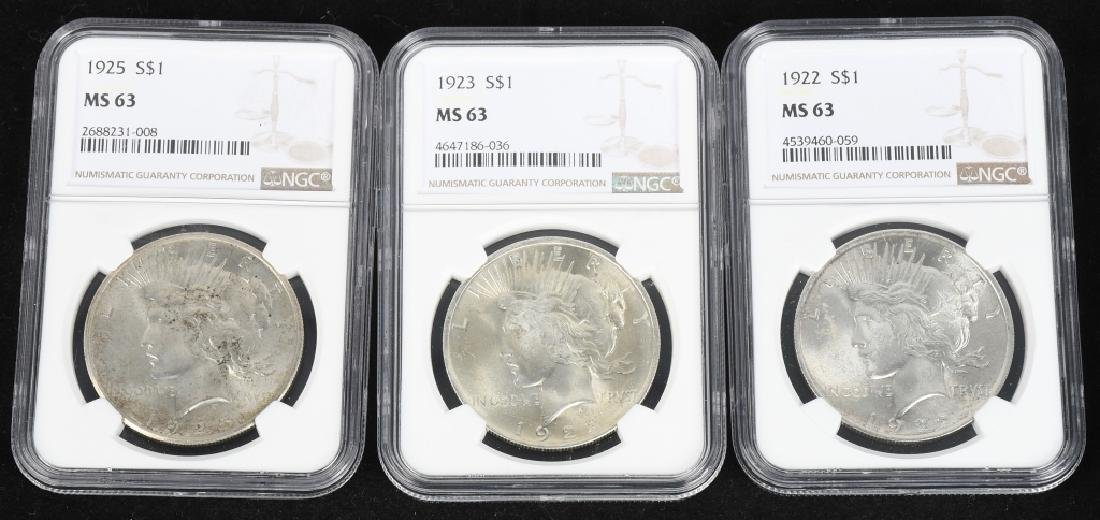 3- US NGC MS 63 PEACE DOLLARS