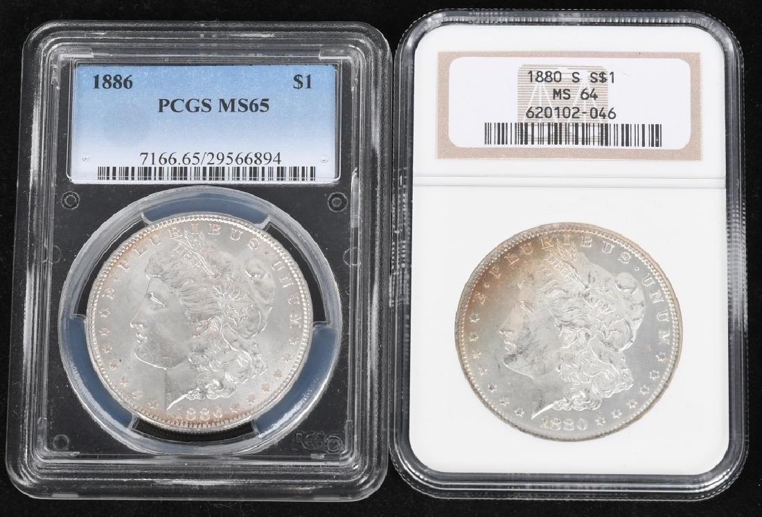 1880S MS64 & 1886 MS65 MORGAN DOLLARS
