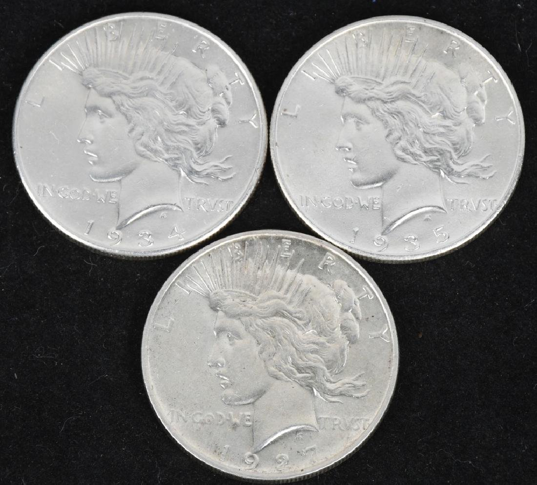 3- US PEACE SILVER DOLLARS AU+