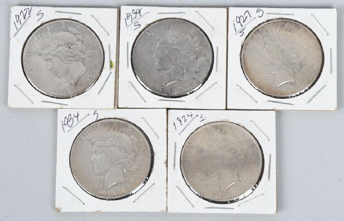 5-US PEACE SILVER DOLLAR S DATES, VG-VF