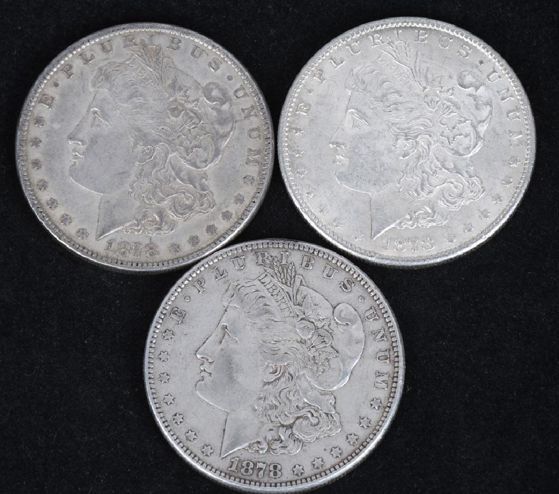 3- 1878 US MORGAN SILVER DOLLARS AU-BU