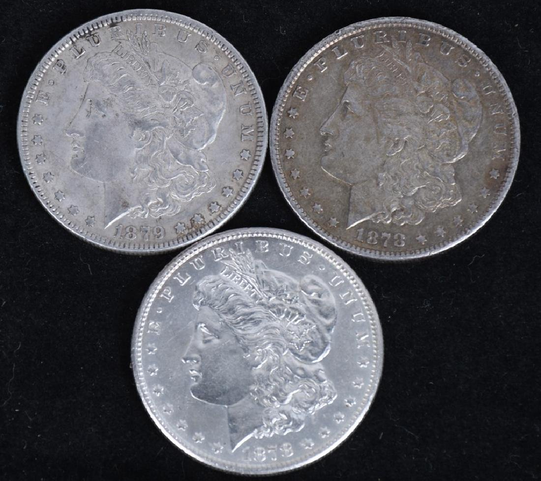 3- US MORGAN SILVER DOLLARS AU-BU