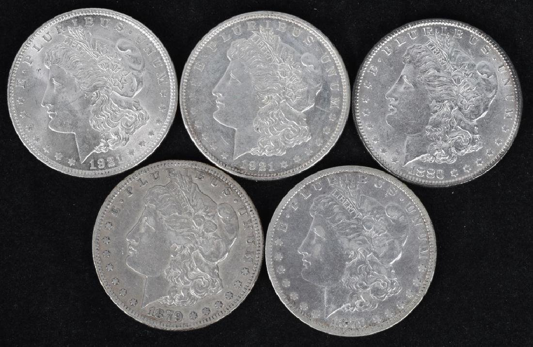 5 - US MORGAN SILVER DOLLARS VF-BU