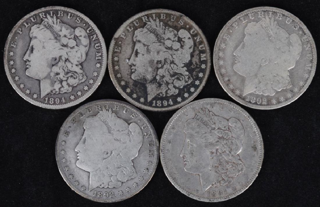 5 - US MORGAN SILVER DOLLARS G-F