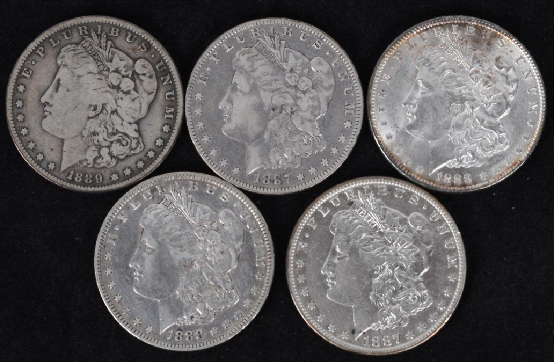 5 - US MORGAN SILVER DOLLARS VG-AU