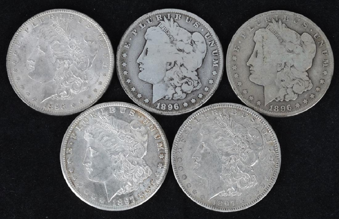 5 - US MORGAN SILVER DOLLARS G-AU