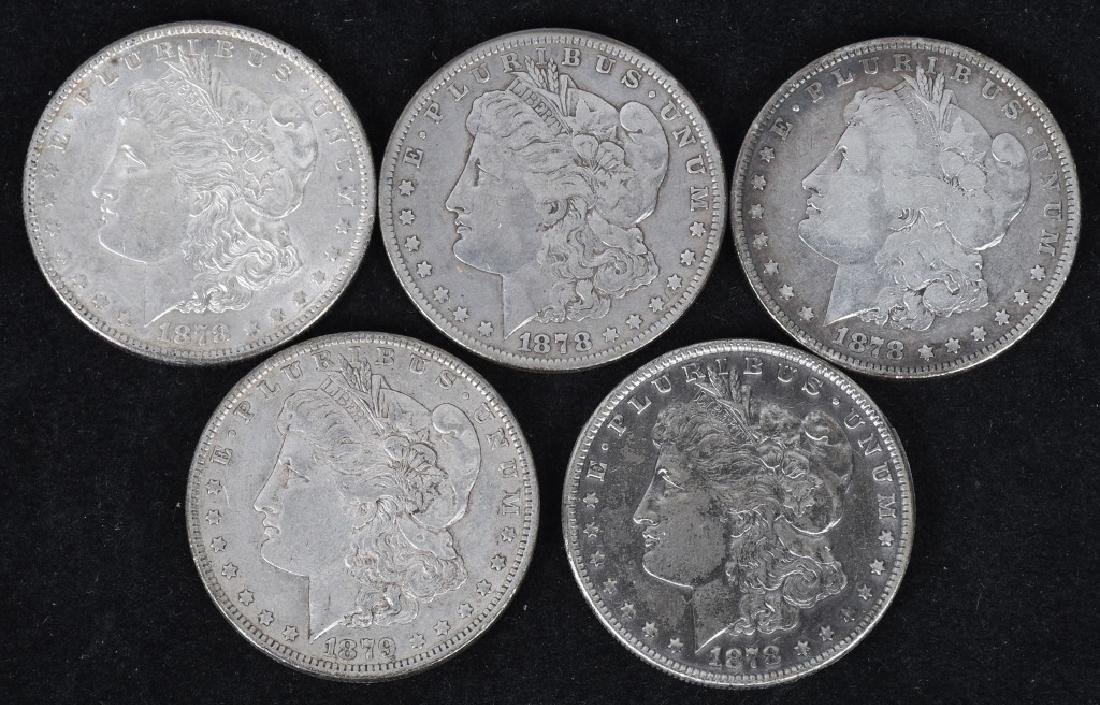 5-1878 & 1879 MORGAN SILVER DOLLARS, VG-AU
