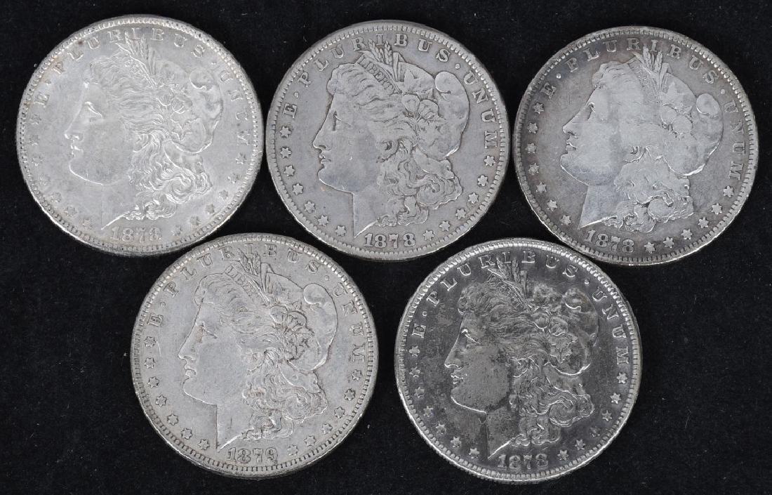 5-1878 & 1879 MORGAN SILVER DOLLARS, VG-AU