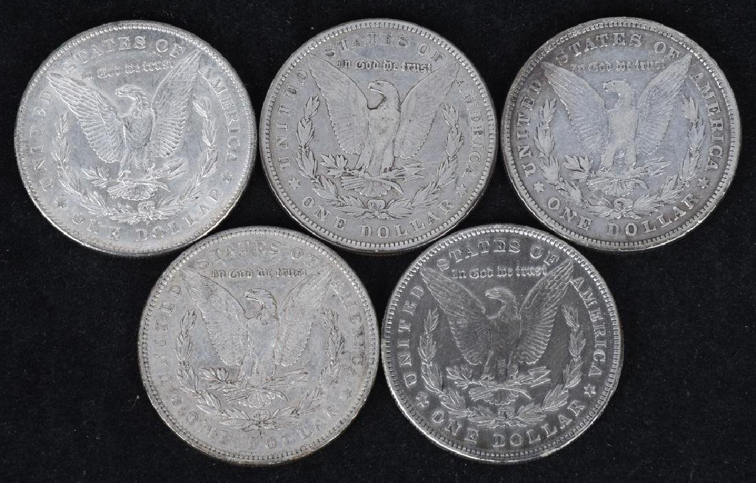 5-1878 & 1879 MORGAN SILVER DOLLARS, VG-AU - 2