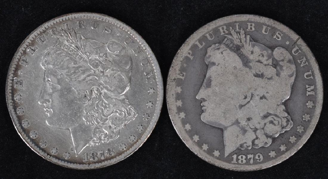 1878-CC and 1879 -CC MORGAN SILVER DOLLARS, G-F