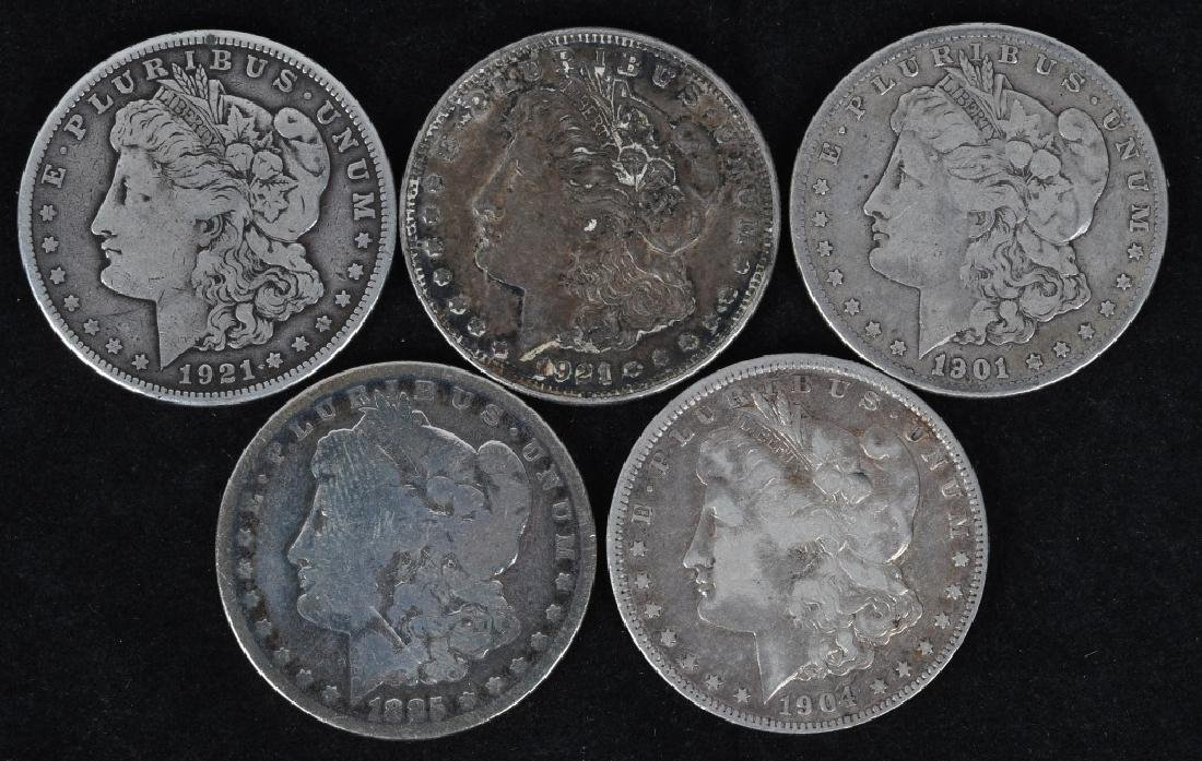 5 - US MORGAN SILVER DOLLARS G-VF