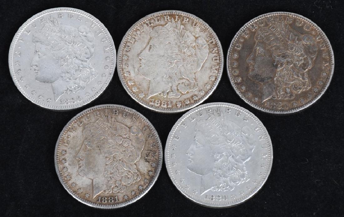 5-US MORGAN SILVER DOLLARS AU-BU