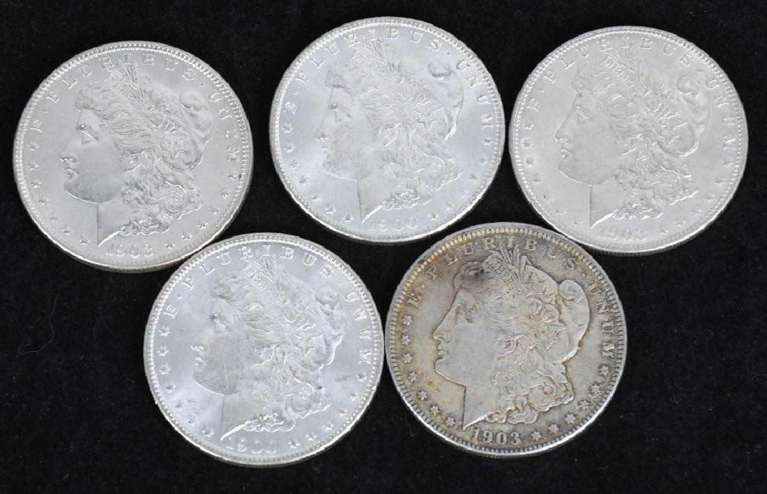 5- US MORGAN SILVER DOLLARS AU-BU