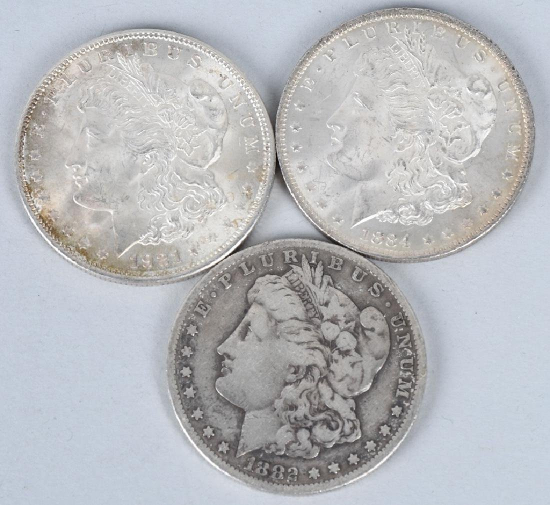 3-US MORGAN SILVER DOLLARS, 1882 CC & MORE