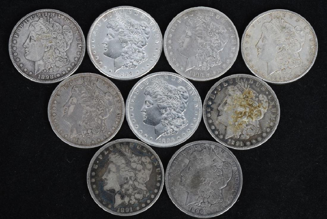 9-US MORGAN SILVER DOLLARS VG-XF