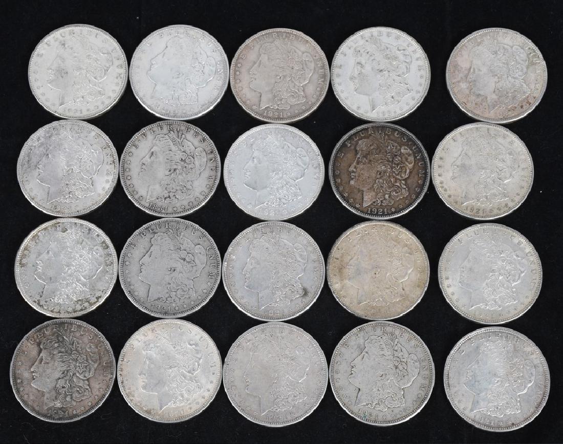 20- US 1921 MORGAN SILVER DOLLARS -XF-AU