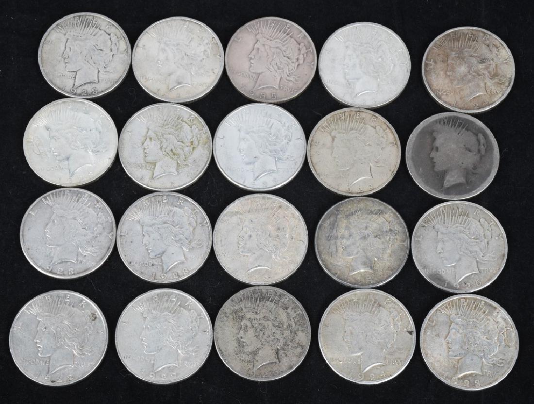20- US PEACE SILVER DOLLARS -XF-AU