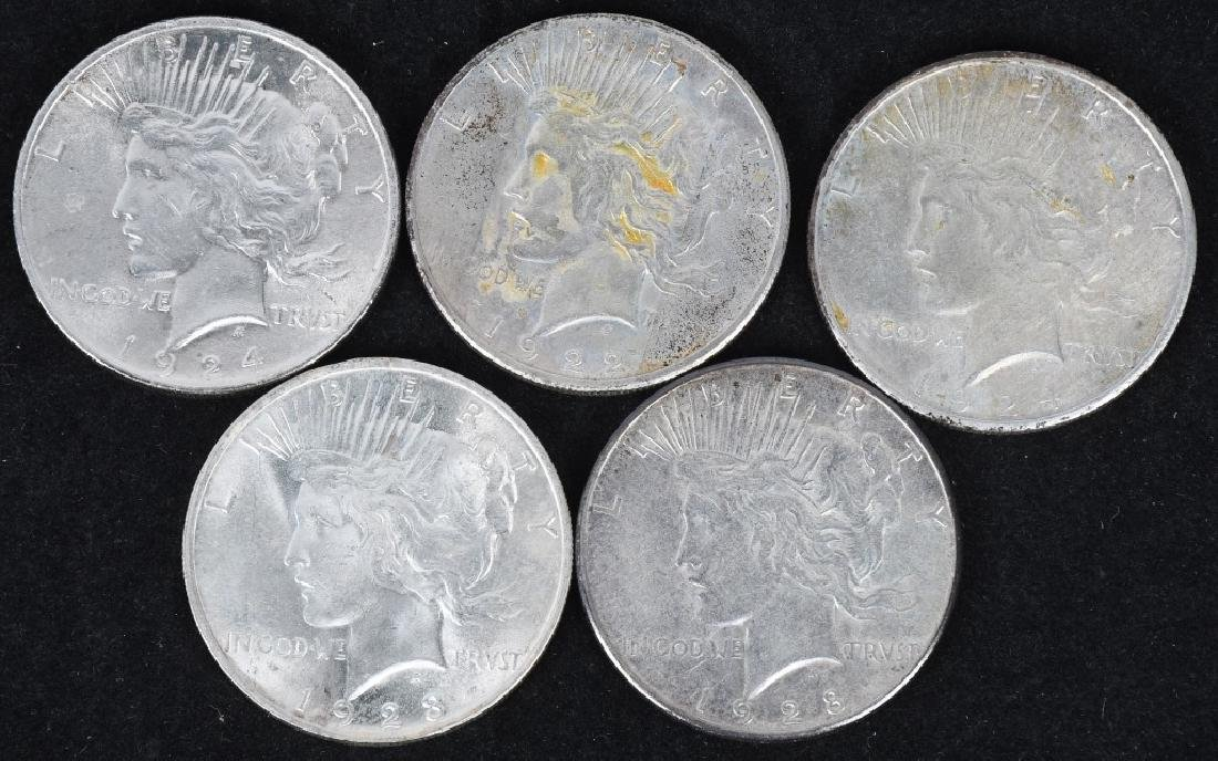 5- US PEACE SILVER DOLLARS -XF-UNC