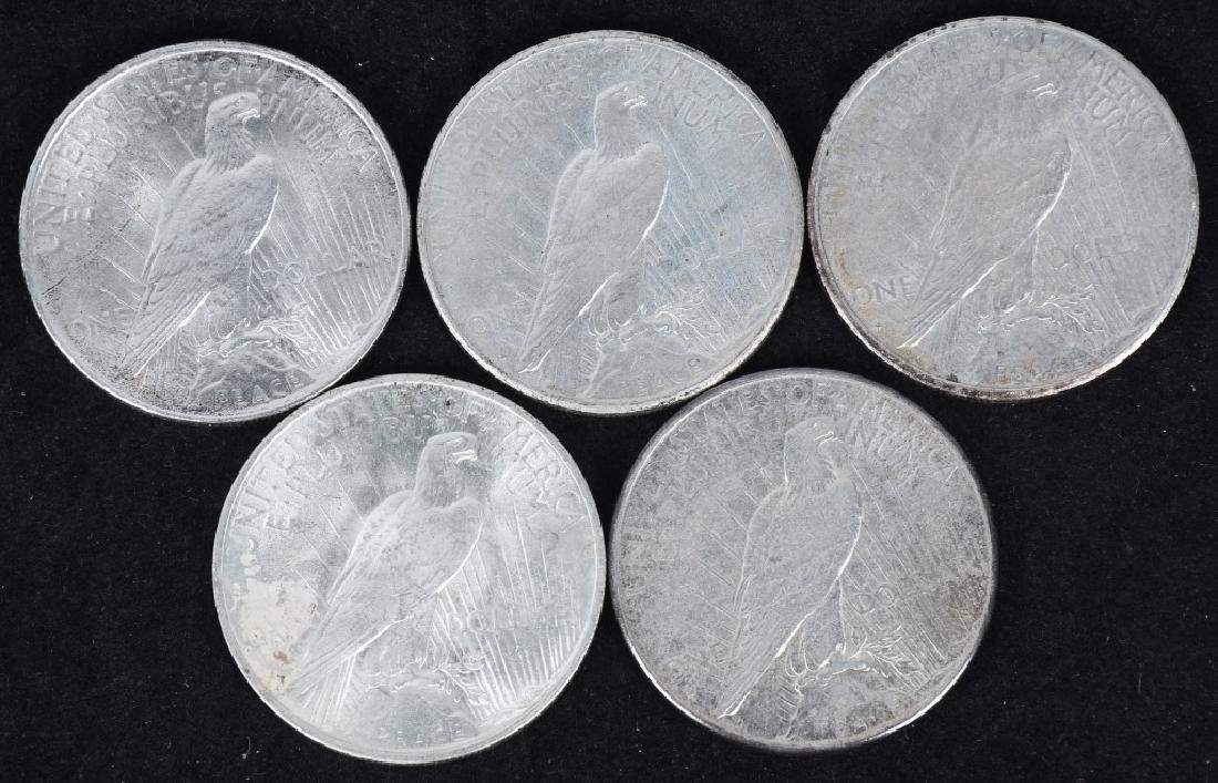 5- US PEACE SILVER DOLLARS -XF-UNC - 2