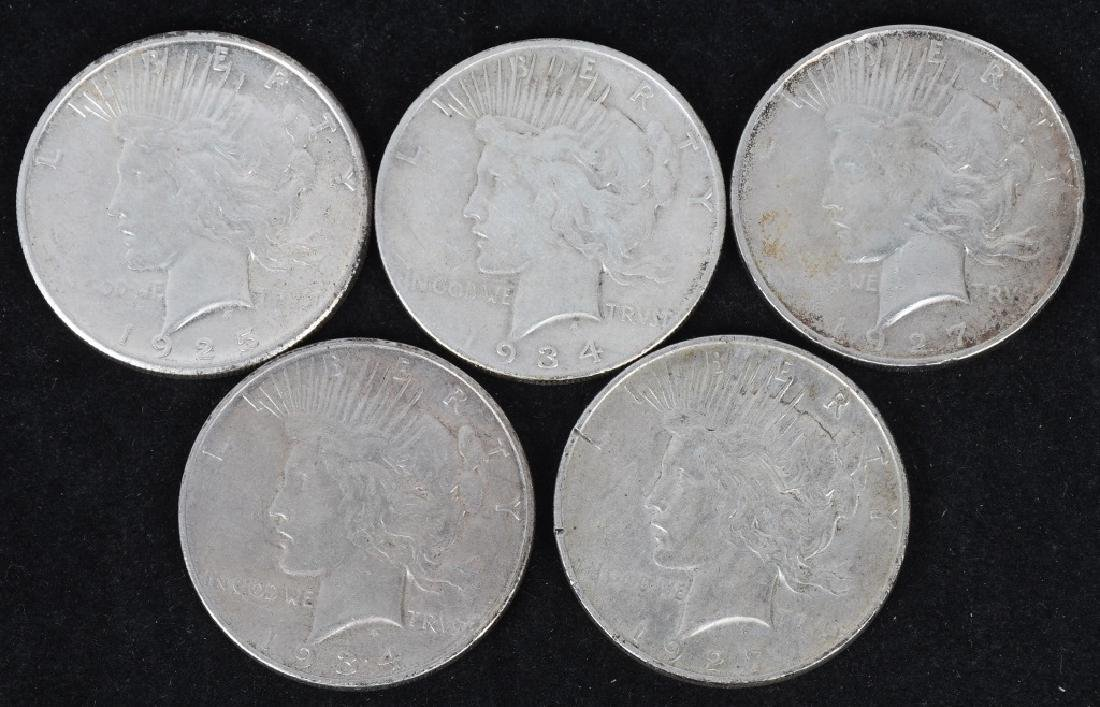 5- US PEACE SILVER DOLLARS -F-XF