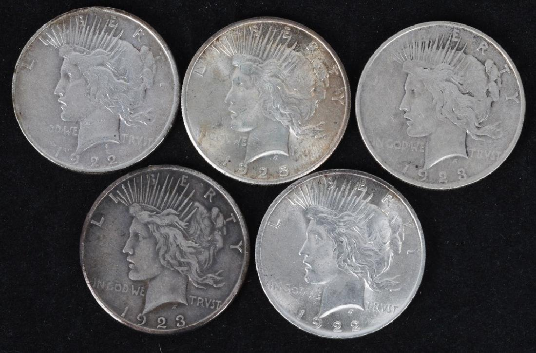 5- US PEACE SILVER DOLLARS -F-UNC
