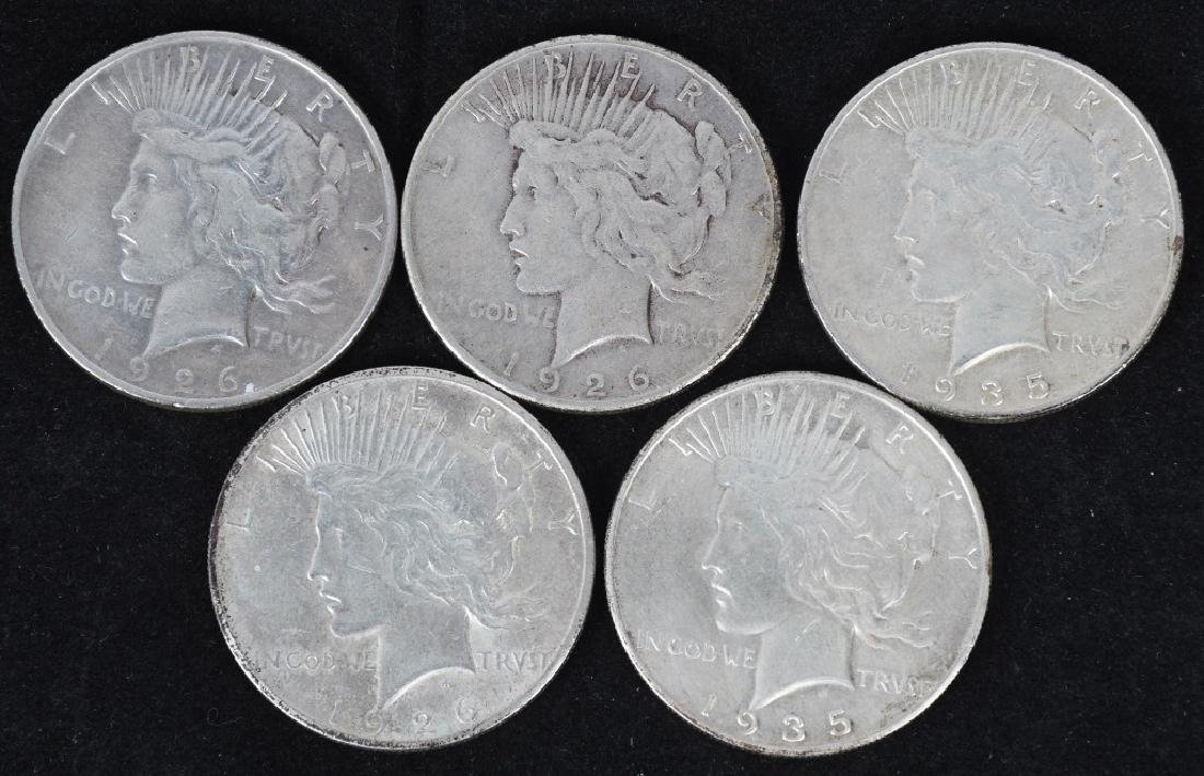 5- US PEACE SILVER DOLLARS -F-XF