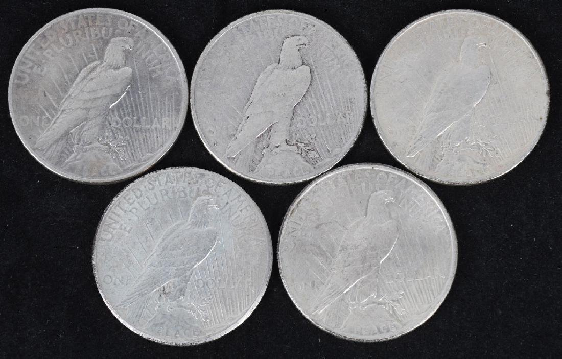 5- US PEACE SILVER DOLLARS -F-XF - 2