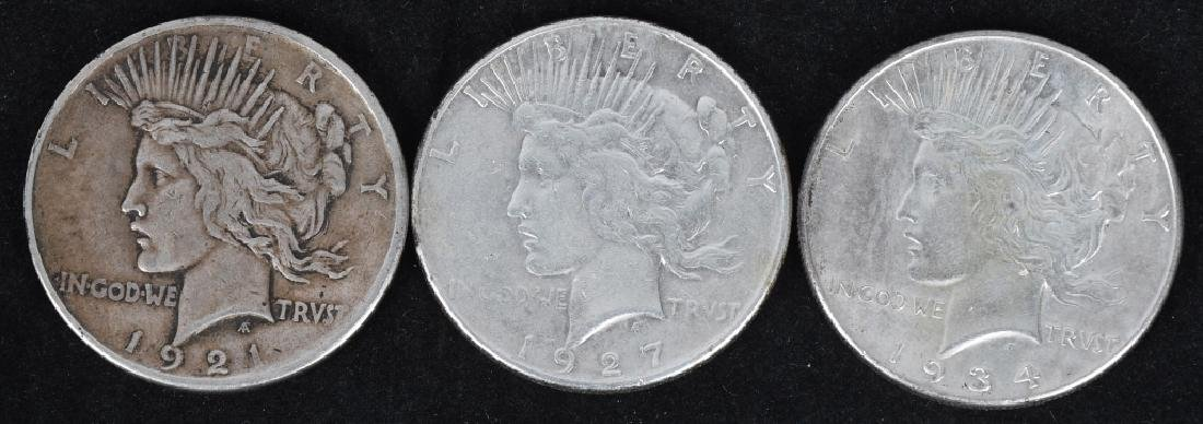 3- US PEACE SILVER DOLLARS, KEY DATES, -F-XF