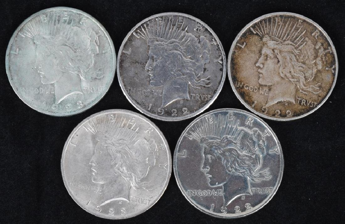 5- US PEACE SILVER DOLLARS -F-UNC