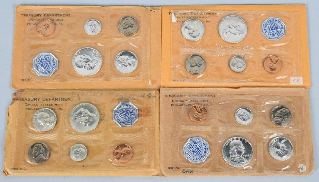 4-90% SILVER PROOF SETS,1956-1959