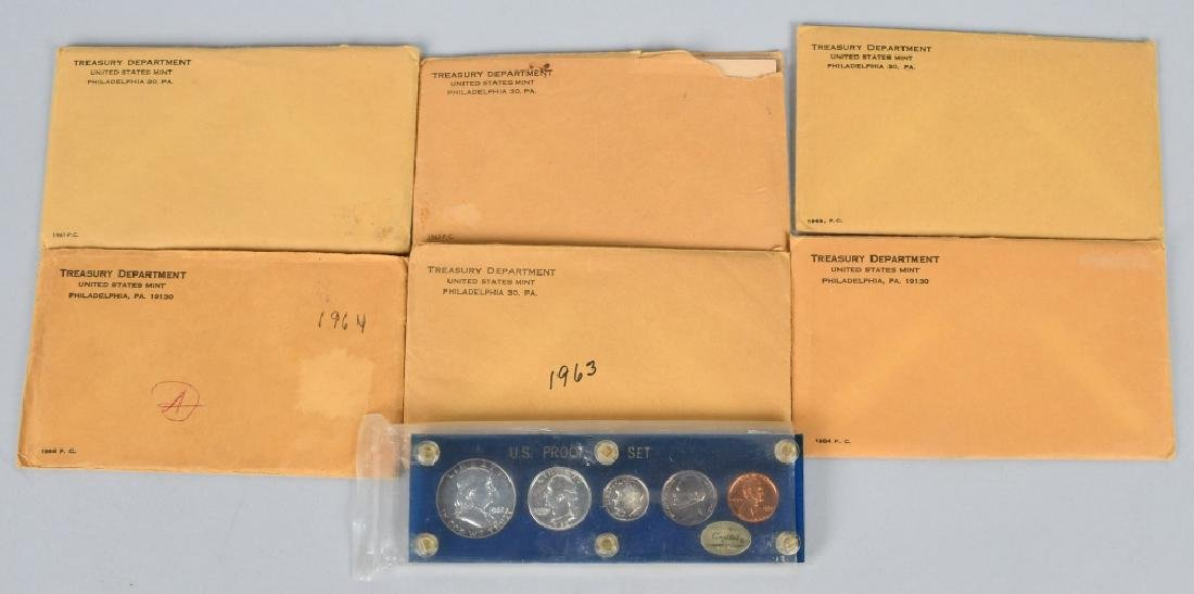 7-90% SILVER PROOF SETS, 1961-1964