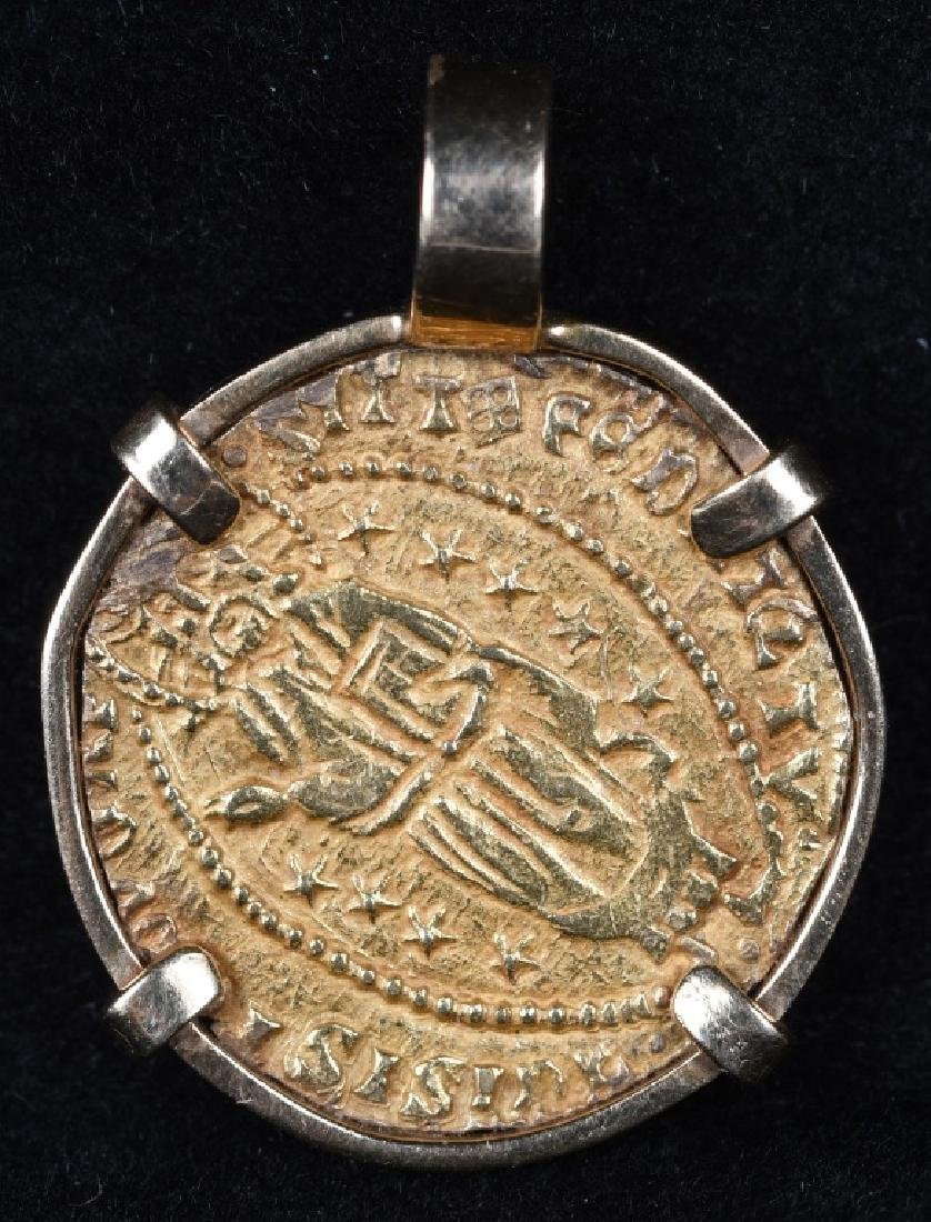 BYZANTINE GOLD COIN IN BEZEL