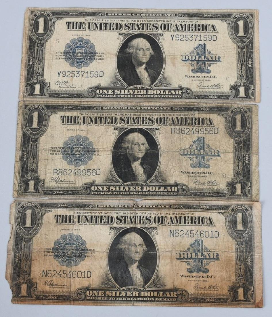 3-SERIES 1923 SILVER CERT. $1.00 LARGE NOTES