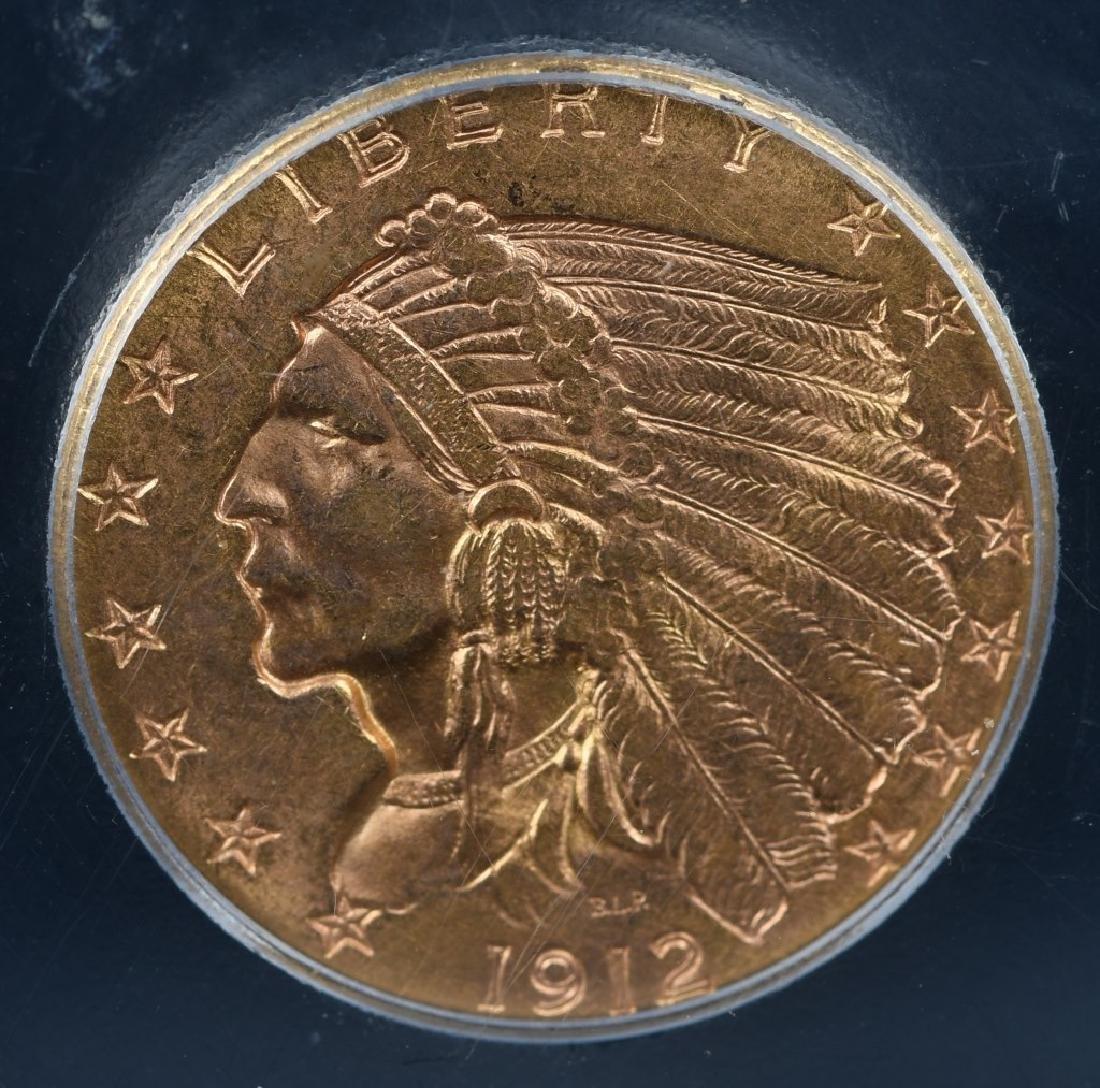 1912 $2 1/2 US GOLD INDIAN SLABBED