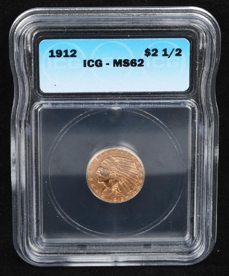 1912 $2 1/2 US GOLD INDIAN SLABBED - 3