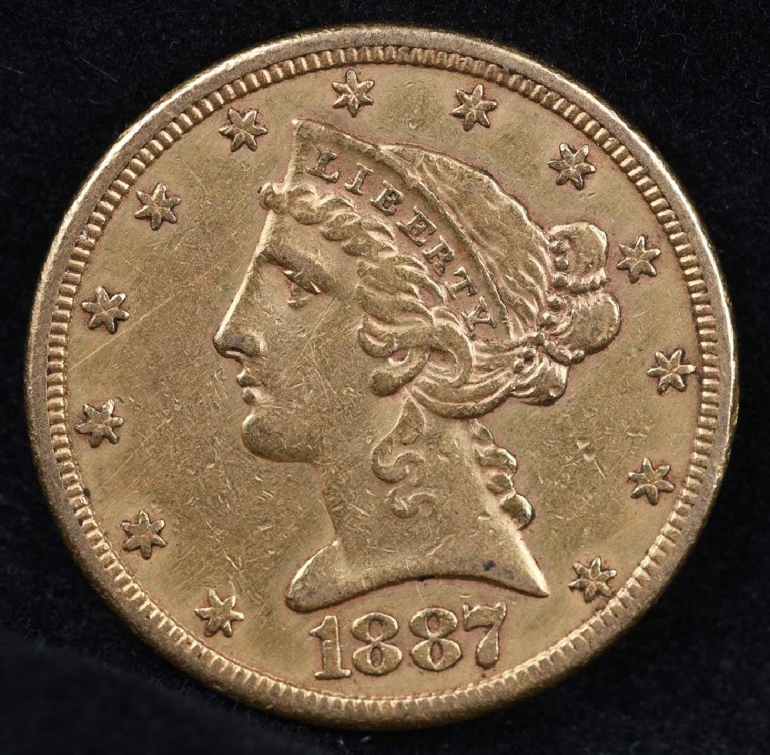 1887S $5 US GOLD LIBERTY