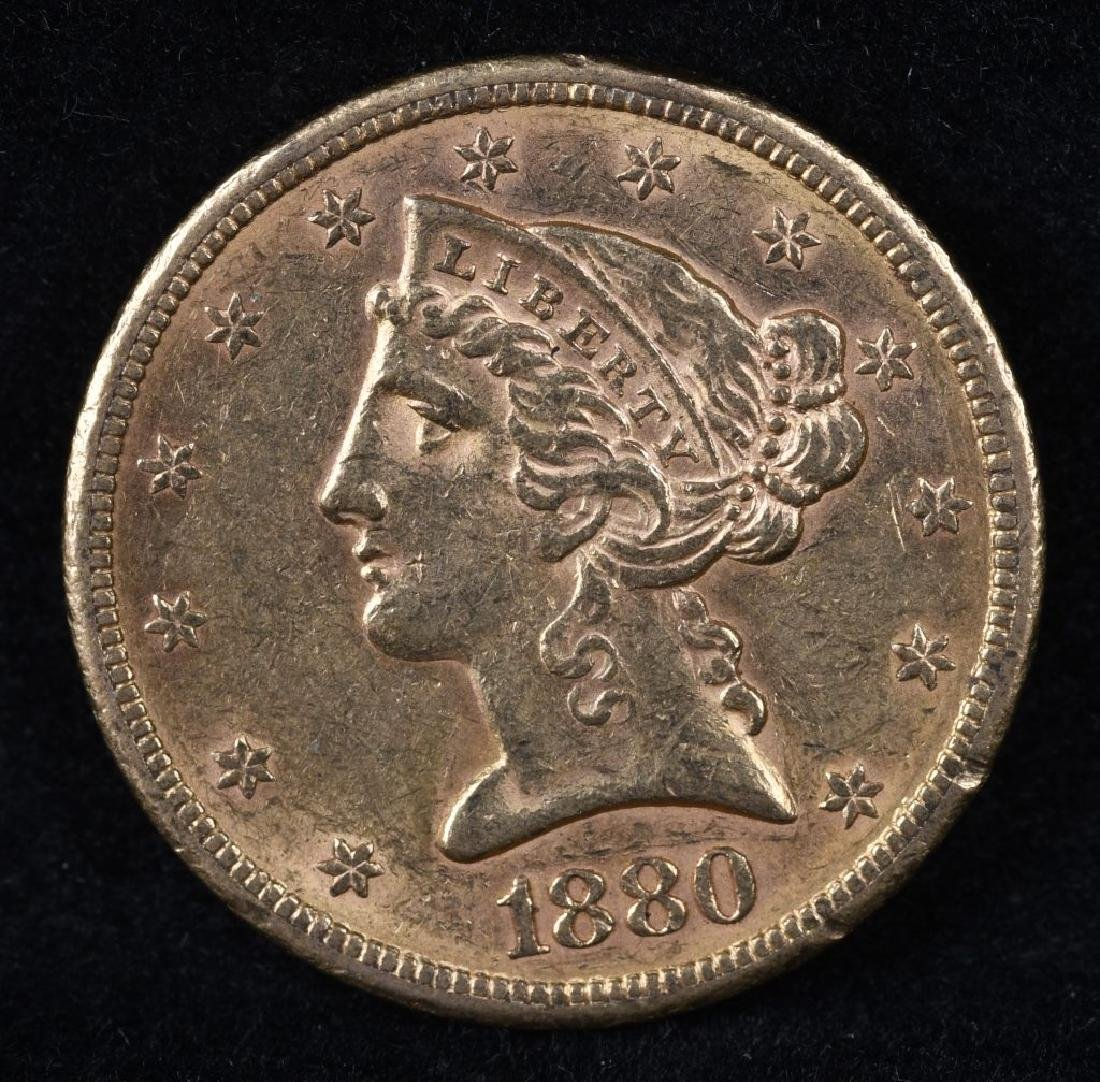 1880S $5 US GOLD LIBERTY