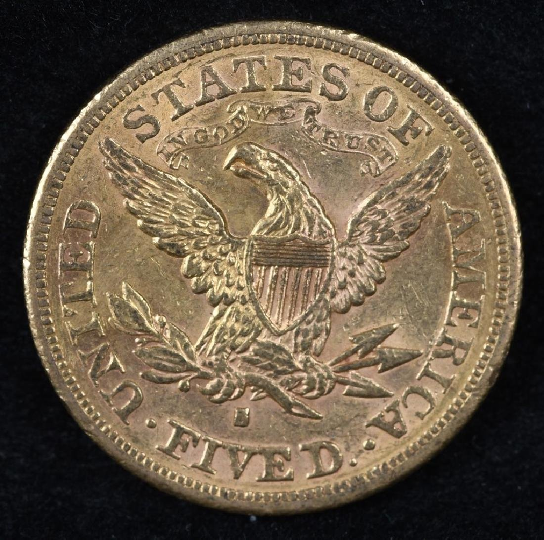 1880S $5 US GOLD LIBERTY - 2