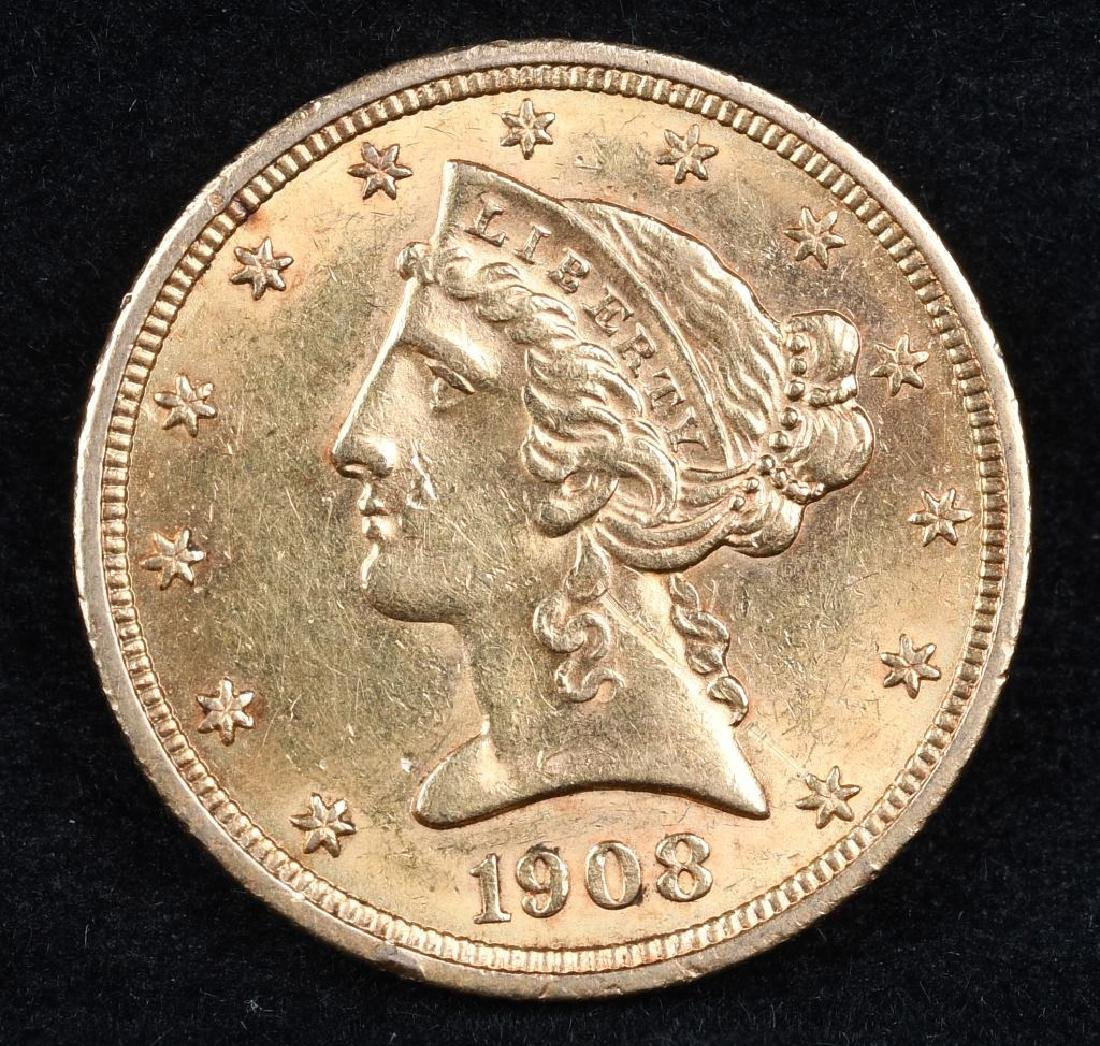 1908 $5 US GOLD LIBERTY