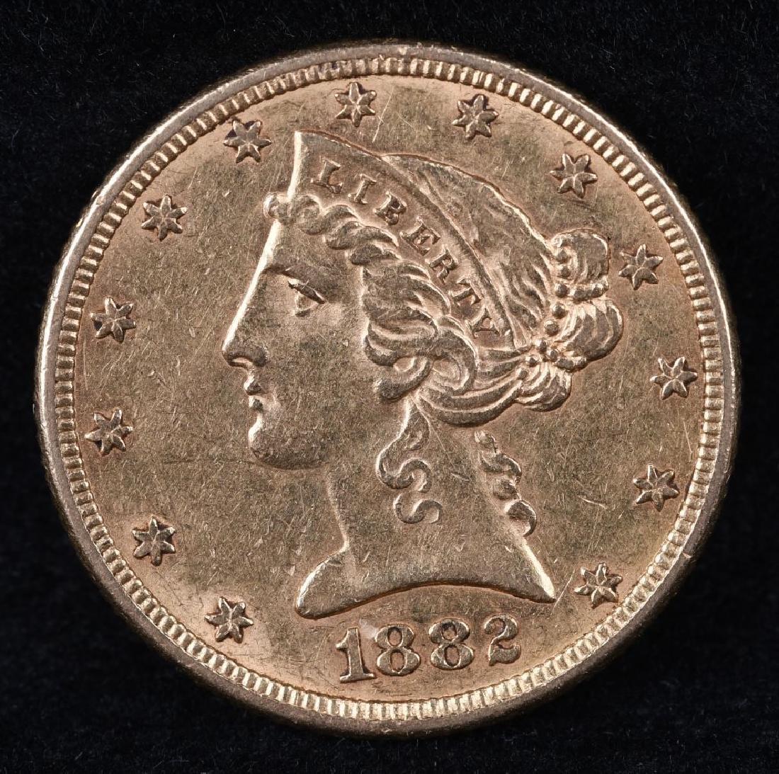 1882 $5 US GOLD LIBERTY