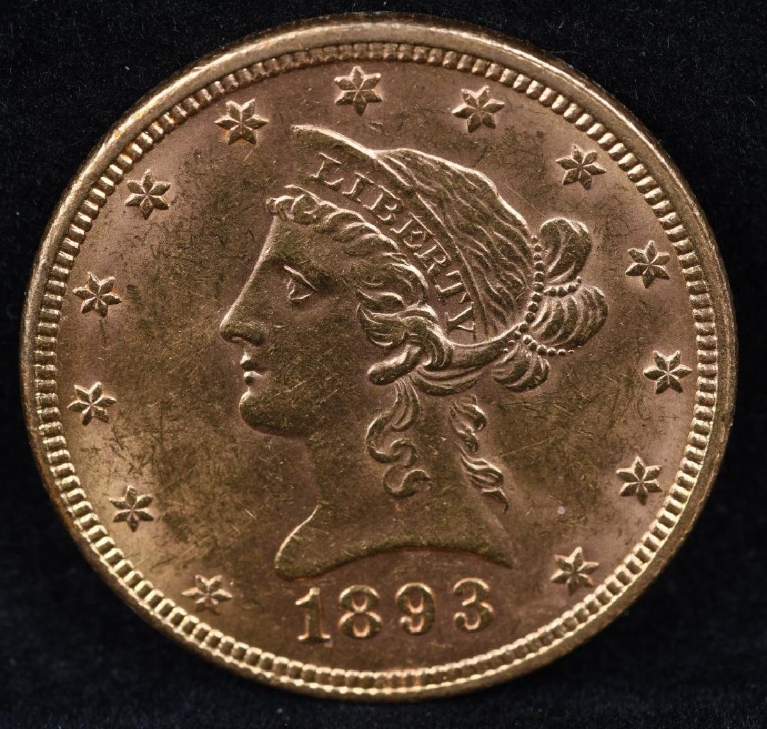 1893 $10 US GOLD LIBERTY