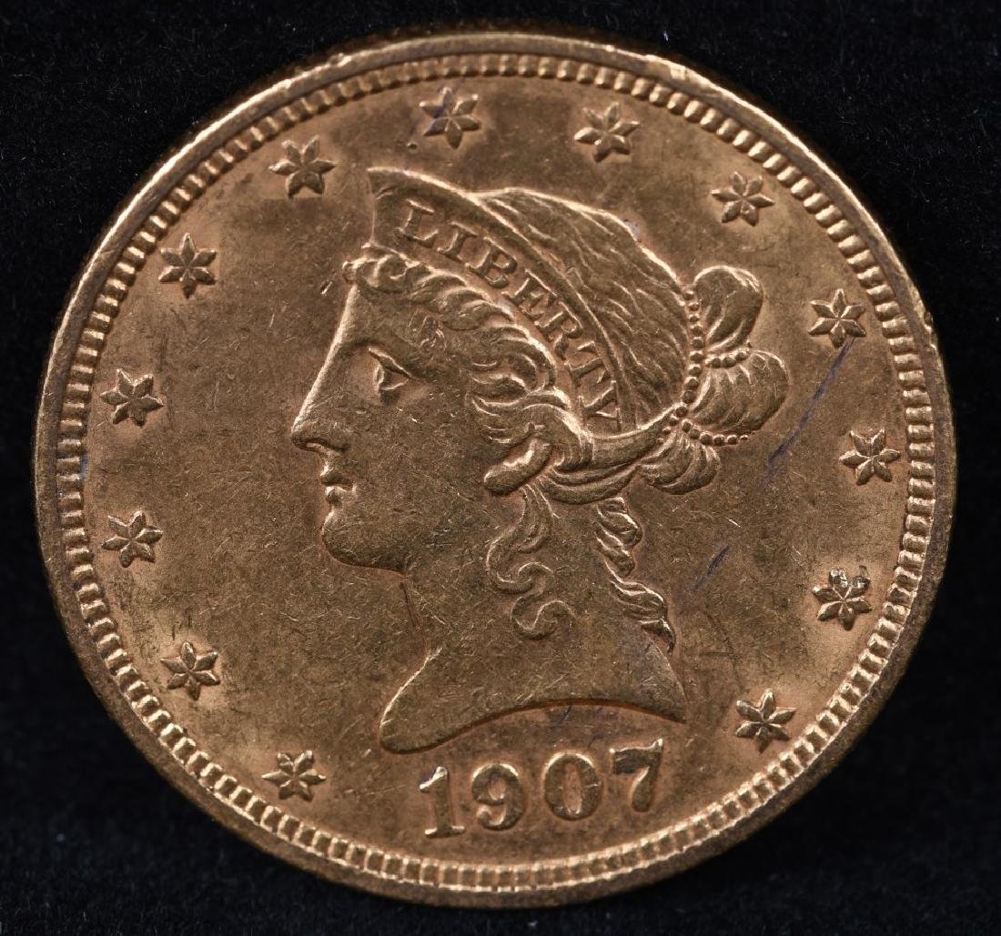1907 $10 US GOLD LIBERTY