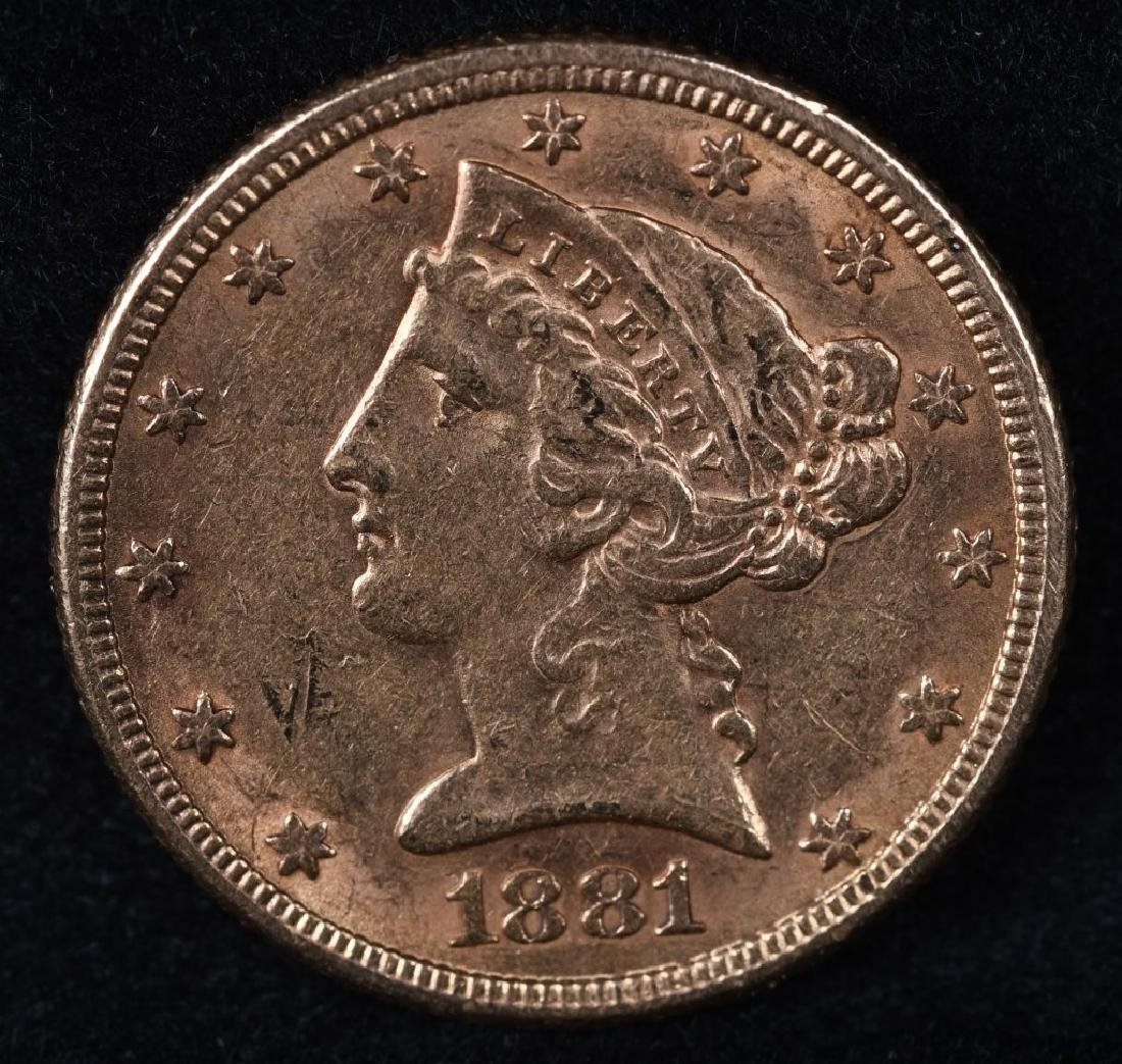 1881 $5 US GOLD LIBERTY