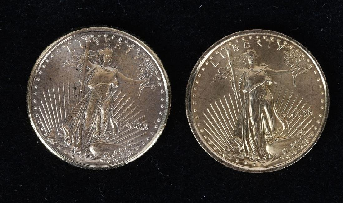 1998 & 2000 1/10 OZT AMERICAN GOLD EAGLES