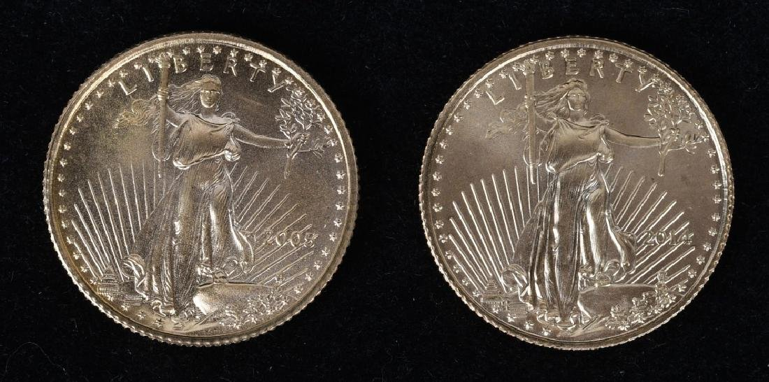 2005 & 2014 1/10 OZT AMERICAN GOLD EAGLES