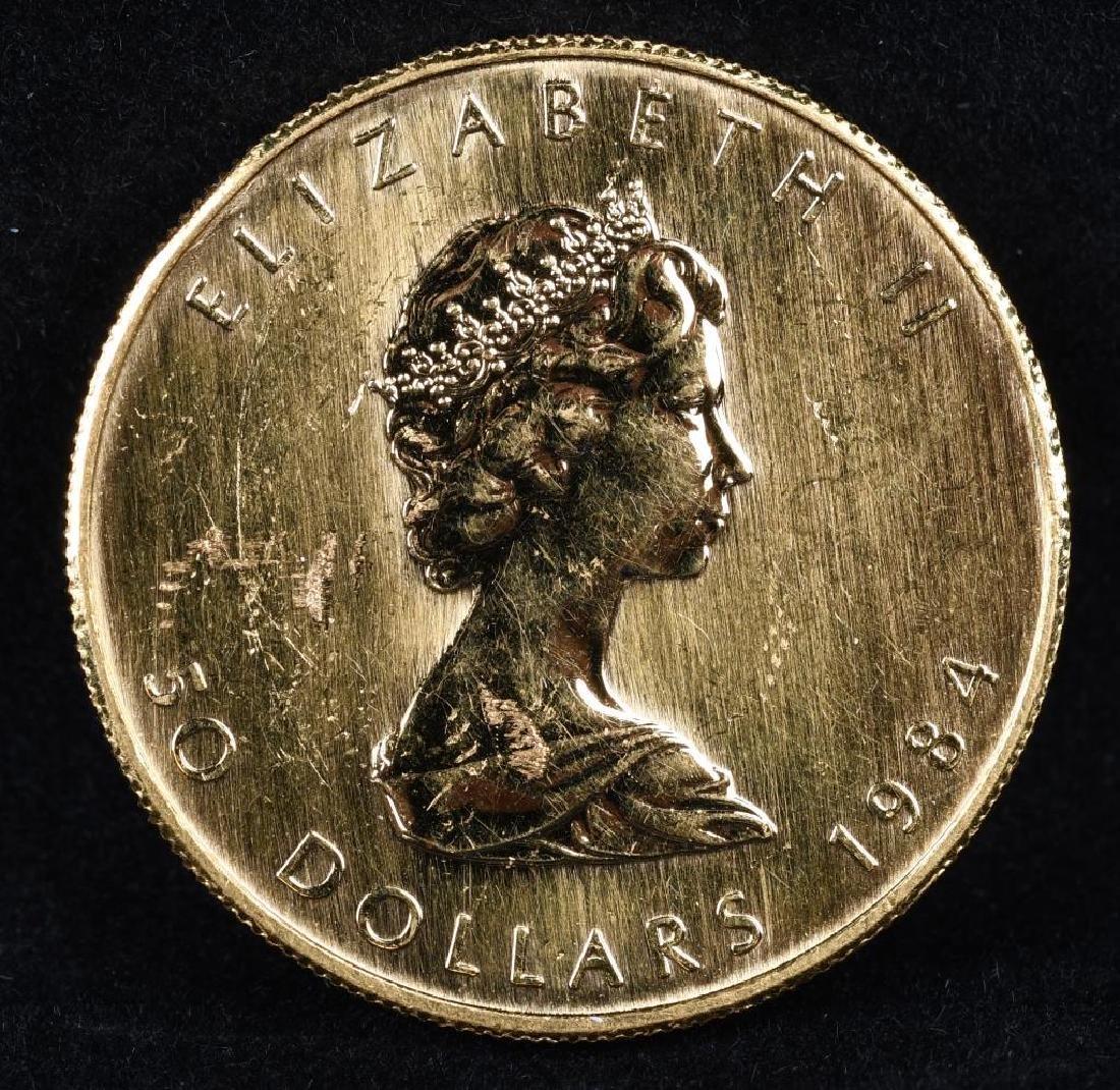 1OZ 1984 9999 FINE GOLD MAPLE LEAF