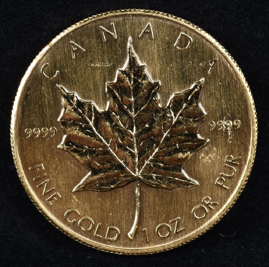 1OZ 1984 9999 FINE GOLD MAPLE LEAF - 2