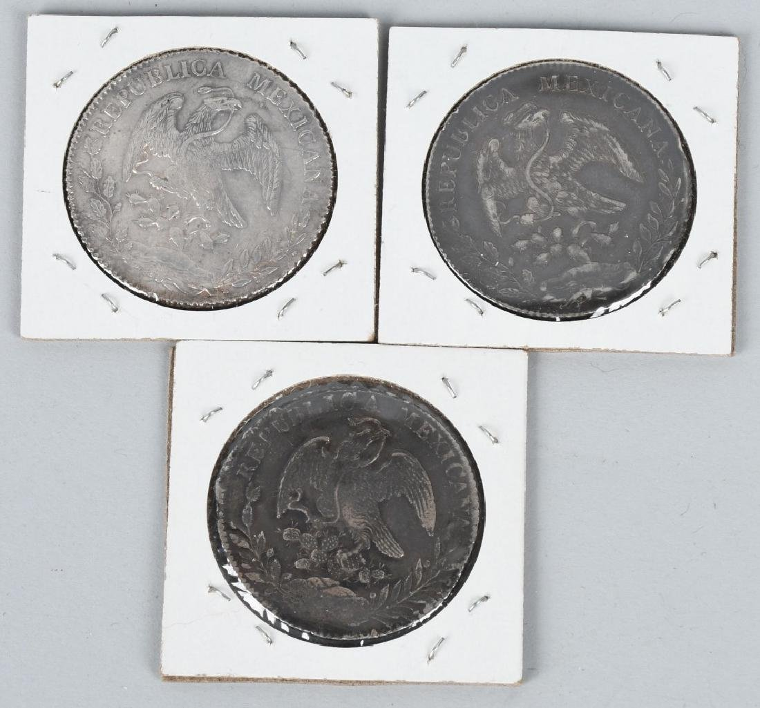 5-MEXICAN SILVER COINS 8 REALES & MORE - 3