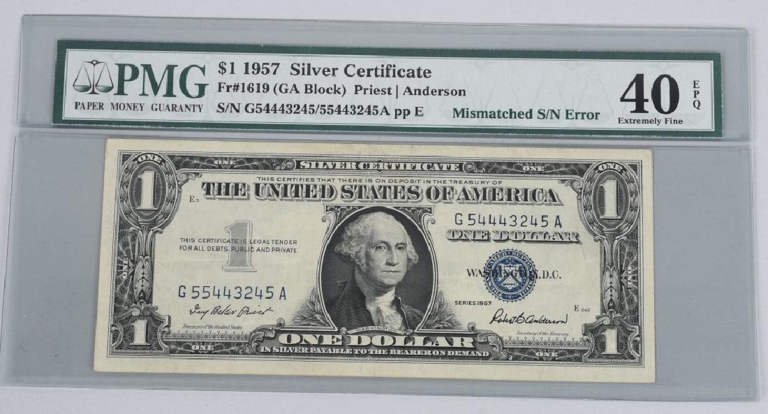 1957 SILVER CERT. $1.00, ERROR MISMATCHED SN,PMG